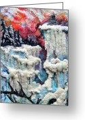 Icebergs Tapestries - Textiles Greeting Cards - Winter Greeting Card by Kimberly Simon