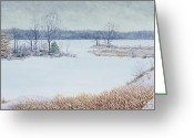 Ozarks Greeting Cards - Winter Lake and Cedars Greeting Card by Garry McMichael