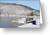 Appalachian Mountains Greeting Cards - Winter Lake Greeting Card by Thomas R Fletcher