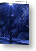 Winter Storm Greeting Cards - Winter Lamp Post Blues Greeting Card by John Stephens