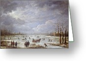 Sleigh Ride Greeting Cards - Winter Landscape Greeting Card by Aert van der Neer