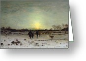 Snow On Field Greeting Cards - Winter Landscape at Sunset Greeting Card by Ludwig Munthe