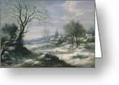 Van Painting Greeting Cards - Winter landscape Greeting Card by Daniel van Heil