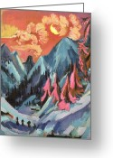 Snow Capped Painting Greeting Cards - Winter Landscape in Moonlight Greeting Card by Ernst Ludwig Kirchner