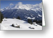 Beautiful Winter Greeting Cards - Winter landscape in the mountains Greeting Card by Matthias Hauser