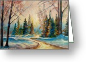 Sunset Scenes. Painting Greeting Cards - Winter Landscape Knowlton Quebec Greeting Card by Carole Spandau