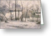 Bare Trees Painting Greeting Cards - Winter Landscape Greeting Card by Paul Gauguin