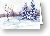 Bare Trees Painting Greeting Cards - Winter Landscape Greeting Card by Peggy Wilson