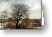 Abandoned Houses Greeting Cards - Winter Landscape Greeting Card by Viaina