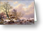 Ice Skating Greeting Cards - Winter Landscape with Castle Greeting Card by Frederick Marianus Kruseman
