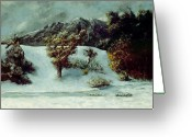 Mit Greeting Cards - Winter Landscape With The Dents Du Midi Greeting Card by Gustave Courbet