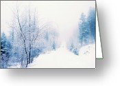 Winter Road Greeting Cards - Winter Lane Greeting Card by Tara Turner