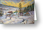 Winter Trees Greeting Cards - Winter Lights Greeting Card by Richard T Pranke