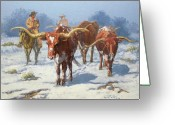 Four Corners Greeting Cards - Winter Longhorns Greeting Card by Randy Follis