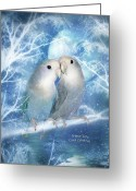 Scene Mixed Media Greeting Cards - Winter Love Greeting Card by Carol Cavalaris
