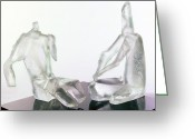 Sculpture Glass Glass Art Greeting Cards - Winter Lovers 2005 Greeting Card by Zoja Trofimiuk