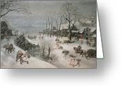 Snow Scenes Greeting Cards - Winter Greeting Card by Lucas van Valckenborch