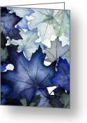 Leaf Painting Greeting Cards - Winter Maple Leaves Greeting Card by Christina Meeusen