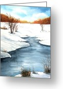 Bare Trees Painting Greeting Cards - Winter Memories Greeting Card by Sharon Steinhaus