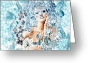 Jewels Digital Art Greeting Cards - Winter Greeting Card by Mo T