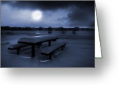 Snowy Night Digital Art Greeting Cards - Winter Moonlight Greeting Card by Jaroslaw Grudzinski