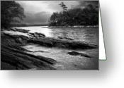 Black And White Photo Greeting Cards - Winter Moonlight Wolfes Neck Woods Maine Greeting Card by Bob Orsillo