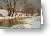 Pond Painting Greeting Cards - Winter Morning Greeting Card by Walter Launt Palmer