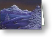 Forest Pastels Greeting Cards - Winter Night Greeting Card by Anastasiya Malakhova