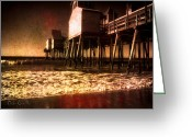 Silver Gelatin Greeting Cards - Winter Old Orchard Beach Greeting Card by Bob Orsillo