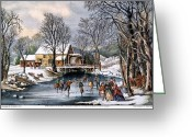 Skate Greeting Cards - Winter Pastime, 1870 Greeting Card by Granger