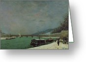 Gauguin; Paul (1848-1903) Greeting Cards - Winter Greeting Card by Paul Gauguin