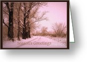 Winter Trees Greeting Cards - Winter Pink Seasons Greetings Greeting Card by Carol Groenen