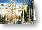 "\""colorado Resort\\\"" Greeting Cards - Winter Playground  Greeting Card by Barbara Jewell"
