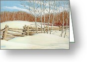 Split-rail Fence Greeting Cards - Winter Poplars 2 Greeting Card by Richard De Wolfe