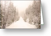 Winter Road Greeting Cards - Winter Quiet Greeting Card by Tara Turner