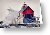 Winter Storm Photo Greeting Cards - Winter  Rage Greeting Card by James Marvin Phelps