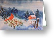 Cabin Window Painting Greeting Cards - Winter Red Bird Greeting Card by Bill Joseph  Markowski
