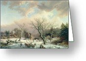 Van Painting Greeting Cards - Winter Scene   Greeting Card by Johannes Petrus van Velzen