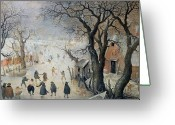 Ice Skater Greeting Cards - Winter Scene Greeting Card by Hendrik Avercamp