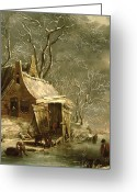 Shed Greeting Cards - Winter Scene Greeting Card by Jan Beerstraten