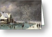 Ice Skater Greeting Cards - Winter Scene Greeting Card by Louis Claude Mallebranche