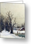White River Scene Greeting Cards - Winter scene Greeting Card by Nils Hans Christiansen