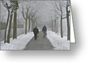Two Men Greeting Cards - Winter Shopping Greeting Card by Odd Jeppesen