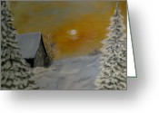 Snowy Night Greeting Cards - Winter silence  Greeting Card by Irina Astley