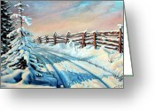 Rail Fence Greeting Cards - Winter Snow Tracks Greeting Card by Otto Werner