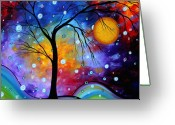 Moon Greeting Cards - WINTER SPARKLE Original MADART Painting Greeting Card by Megan Duncanson