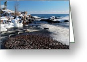 Crashing Waves Greeting Cards - Winter Splash Greeting Card by Sebastian Musial