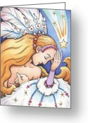 Sad Greeting Cards - Winter Starfall Greeting Card by Amy S Turner
