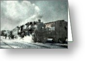 Iron Horse Greeting Cards - Winter Steam Train Greeting Card by Randy Steele