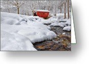Connecticut Winter Scene Greeting Cards - Winter Stream Greeting Card by Bill  Wakeley